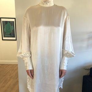 H&M - White Satin Long Sleeve Dress
